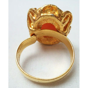 Vintage Jewelry - vintage gold tone cameo ring adjustable